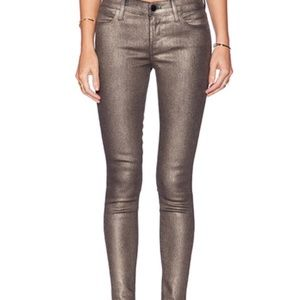 "J BRAND MID-RISE SKINNY JEANS ""MARIA"" IN GOLD DUST"